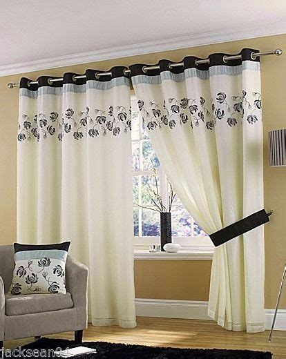 Ring Top Drapery - black silver lined ring top eyelet voile curtains 46