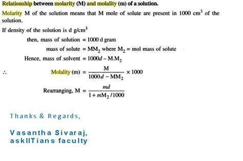 Physical Chemistry  97631  Relation Between Molarity And Molaliaskiitians