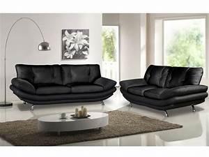 Canapé Cuir Fauteuil : canap et fauteuil en simili noir ou blanc forrest ~ Premium-room.com Idées de Décoration