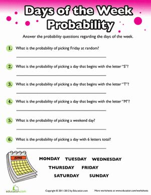 probability days of the week places to visit