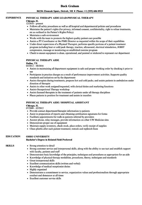 Physical Therapy Assistant Resume by Physical Therapy Aide Resume Sle Physical Therapy