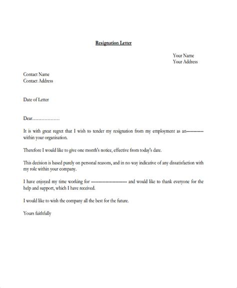 official resignation letter template   word