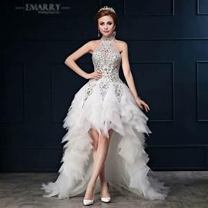 sz345 vestido de noiva romantic high low organza above With high low halter wedding dress
