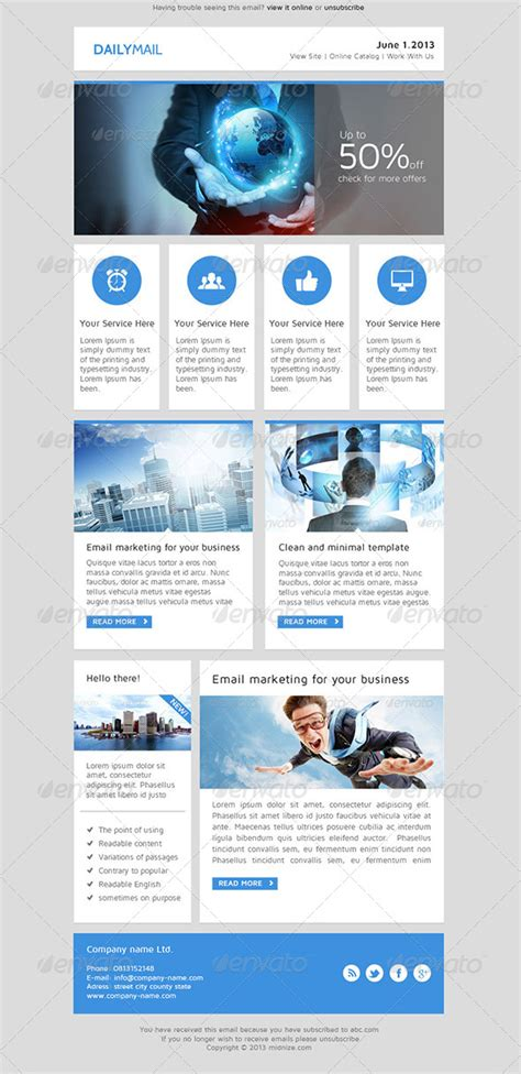daily mail clean psd email newsletter template