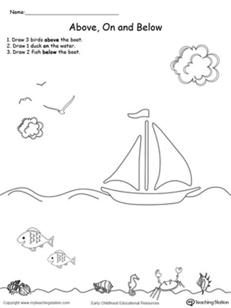 kindergarten position and direction printable worksheets