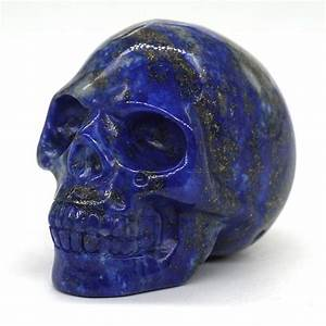 Skull, Healing, Crystal, Natural, Gemstone, Lapis, Lazuli, Carved, Halloween, Decorations
