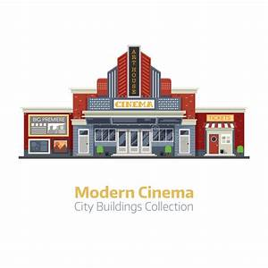 Modern Cinema Building Exterior Stock Vector - Image: 88389552