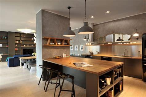 ilot cuisine bois cuisine gris bois ilot central