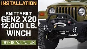 Install Jeep Wrangler Smittybilt Gen2 X2o 12 000 Lb  Winch