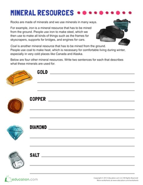 natural resources for printable workbook education