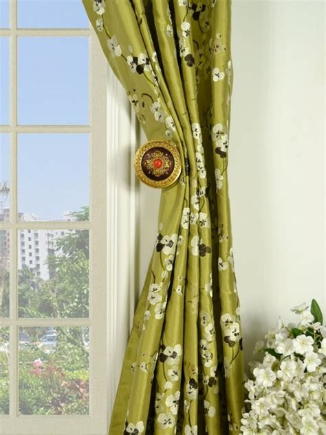 Silk Pinch Pleat Drapes - green embroidered four leaf clovers pinch pleat
