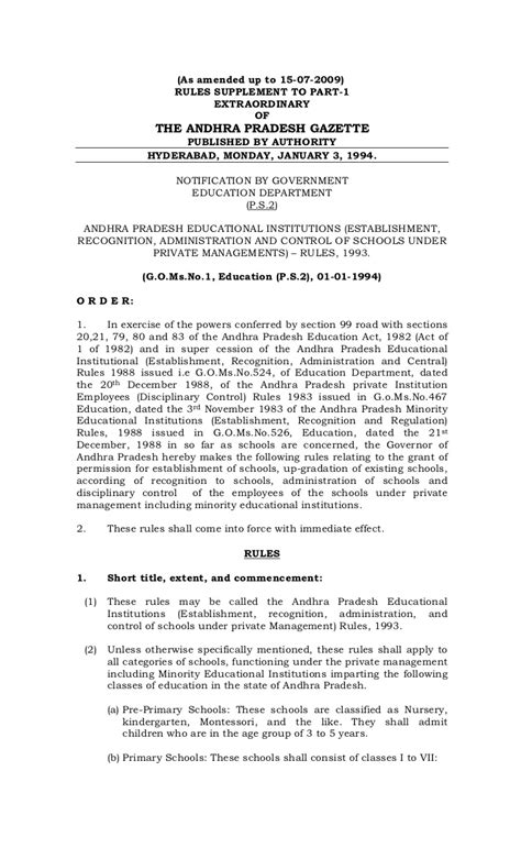 Government Resume Guidelines by Go Ms No 1