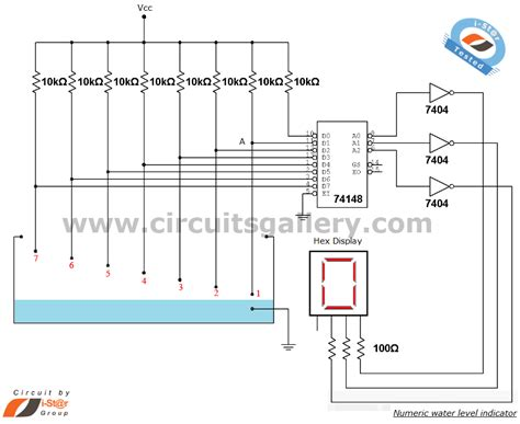 numeric water level indicator liquid level sensor circuit diagram with 7 segment display