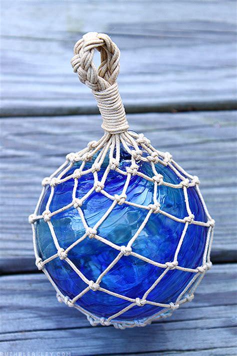 glass fishing float tied hand floats ball blown tie fish knots macrame ruthbleakley nautical japanese using rope diy randa bryan