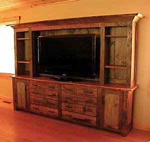 hand made rustic entertainment center by custom rustic With barnwood door entertainment center