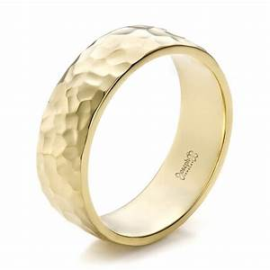 custom men39s hammered yellow gold wedding band 100269 With mens wedding rings yellow gold