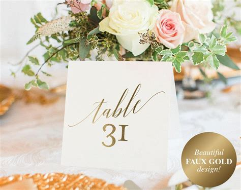 gold table numbers wedding table numbers table number