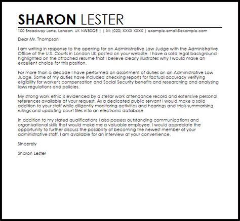 federal court cover letter administrative judge cover letter sle cover