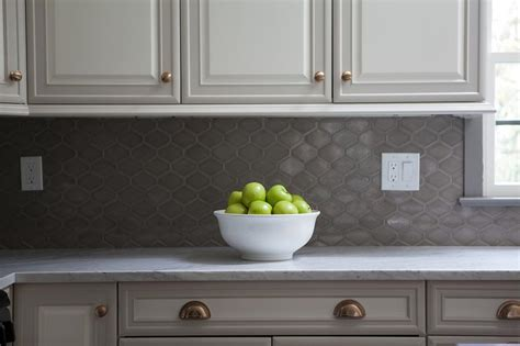 grey cabinets white backsplash white raised panel kitchen cabinets with gray geometric 137 | white raised panel kitchen cabinets gray geometric tile backsplash