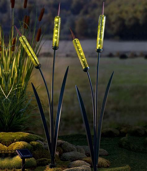 cattail solar lights solar cattail garden stake the green