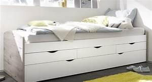 Bett 90x200 Günstig : bett einzelbett ausziehbett schubladenbett tandembett 90cm wei sandeiche ebay ~ Indierocktalk.com Haus und Dekorationen