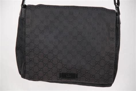 gucci black gg monogram canvas messenger bag crossbody
