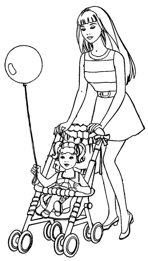 barbie coloring pages barbie  kelly coloring page
