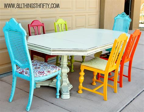 painting kitchen table and chairs different colors dining room table transformation