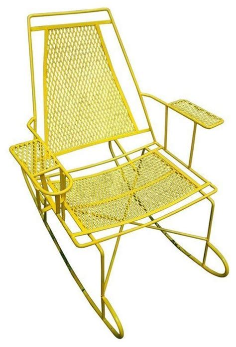 pre owned vintage metal outdoor rocking chair