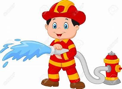 Cartoon Fireman Clipart Firefighter Fire Clipground Hose
