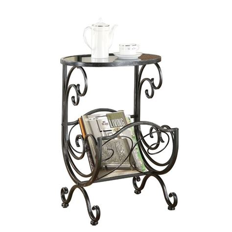 side table with l and magazine rack coaster metal and glass side table with magazine rack in