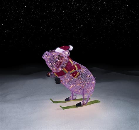 lighted pig lawn ornament christmas skiing pig decoration smiles with sears