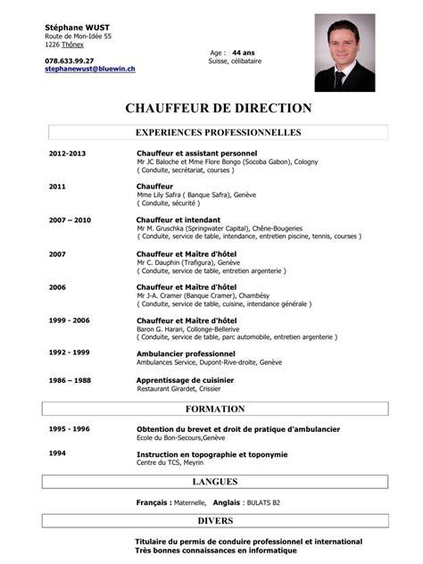 Rediger Un Cv by Rediger Un Cv Chauffeur