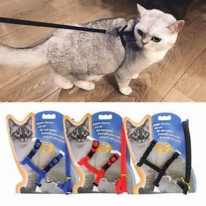 Nylon Pet Cat Chest Harness Leash Set Adjustable Kitten
