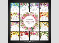 Cute floral calendar of 2017 Vector Free Download