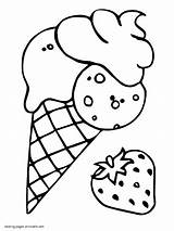 Coloring Ice Cream Cone Strawberry Kleurplaat Kleurplaten Ijs Sheet Aardbeien Ijsjes Printable Leukekleurplaten Truskawkowe Lody Approachingtheelephant Template Kolorowanka Watermeloen Ladnekolorowanki sketch template