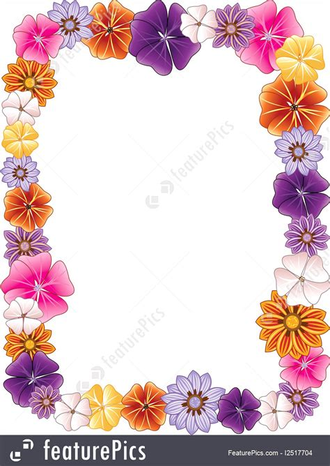 templates flower border stock illustration