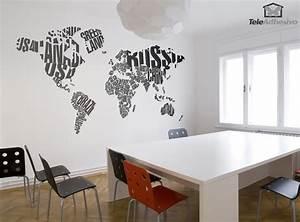 Carte Du Monde Sticker : sticker mural carte du monde typographique ~ Dode.kayakingforconservation.com Idées de Décoration