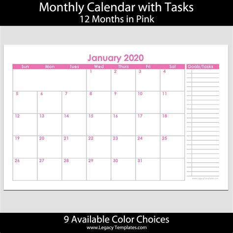 month landscape calendar  tasks