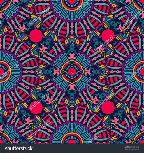 Festive Colorful Tribal Ethnic Seamless Vector Pattern