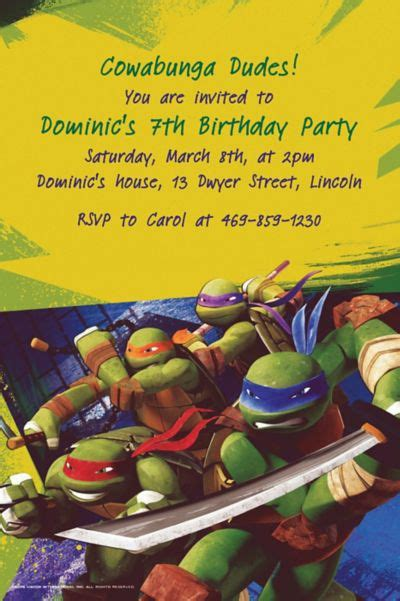 custom teenage mutant ninja turtles invitations party city