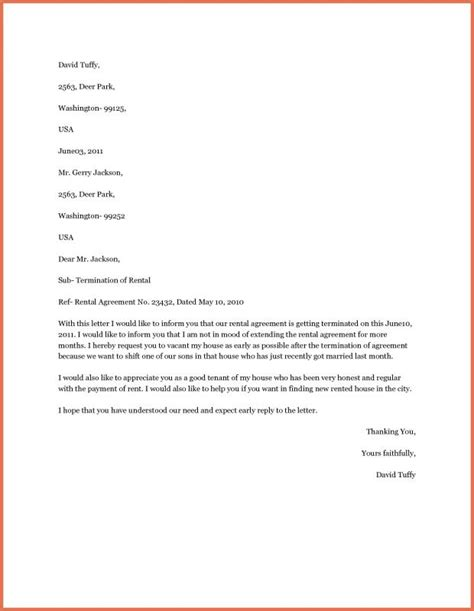 early lease termination letter sle end of lease letter from landlord to tenant 9481