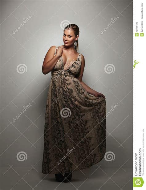 beautiful young woman   evening dress stock photo