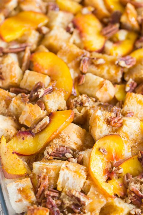 Caramel Pecan Peach French Toast Casserole The Gold