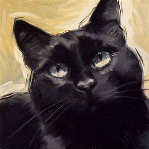 Paintings From the Parlor: Black Cat Original Oil Painting ...