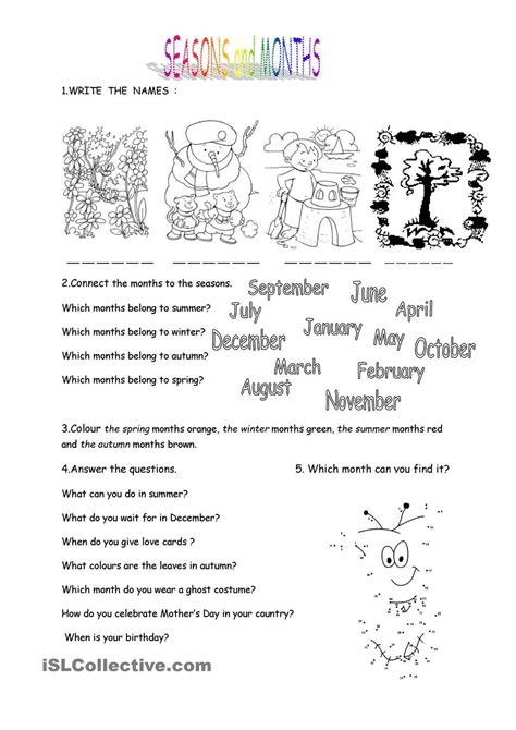months and seasons worksheet kindergarten level