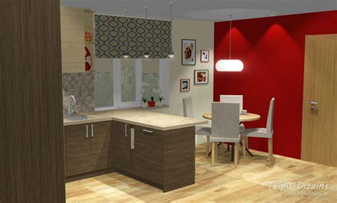 Virtuves iekārtas dizaina risinājums atspoguļots 3D ...
