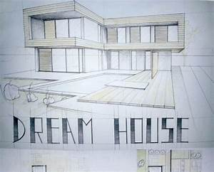 Modern House Drawing Perspective Floor Plans Design ...