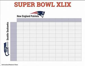 super bowl 2015 squares printable boxes document for With super bowl 2015 squares template