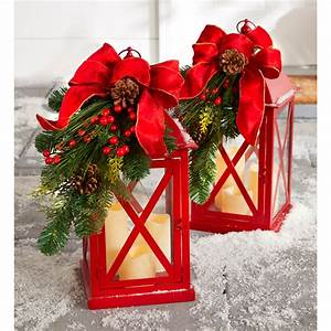 20, U0026quot, H, Red, Christmas, Lantern, With, Led, Candles
